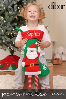 Personalised Animated Plush Santa Stocking by Dibor