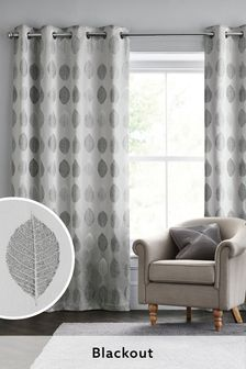 Silver Grey Remy Leaf Blackout/Thermal Eyelet Curtains