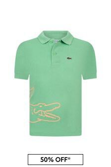 Lacoste Kids Boys Green Cotton Polo Top