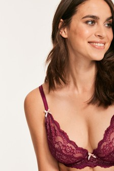 Figleaves Purple Juliette Lace Non Pad Underwired Bra