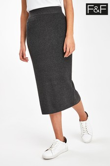 F&F Charcoal Bryce Rib Skirt