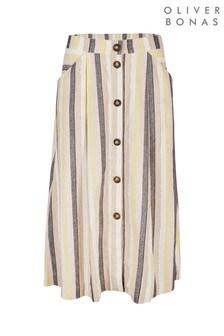 Oliver Bonas White Sparkle Stripe Pastel Midi Skirt
