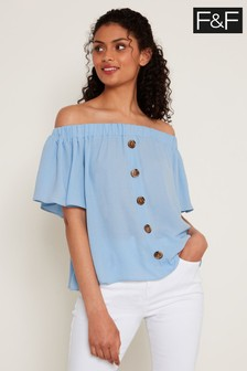 F&F Blue Button Thru Bardot Top