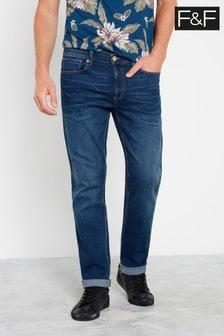 F&F Mid Wash Straight Jeans