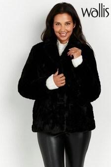 Wallis Black Textured Faux Fur Coat