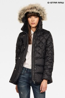G-Star Black Whistler Hooded Faux Fur Down Jacket