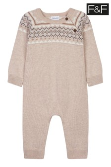 F&F Brown Fairisle Pattern Knitted All-In-One
