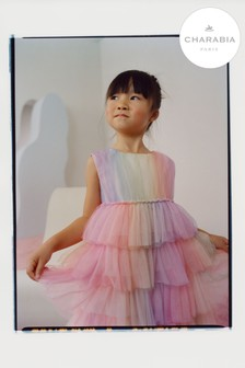 Charabia Pink Rainbow Tiered Dress