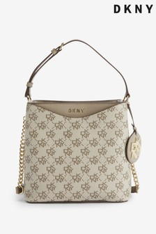 DKNY Brown Logo Dayna Bucket Shoulder Bag