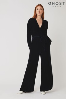 Ghost London Ellie Navy Silk Velvet Jumpsuit