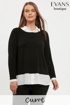 Evans Curve Black/White 2-In-1 Shirt