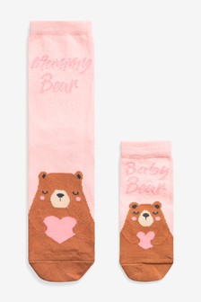 2 Pack Mummy And Baby Bear Socks