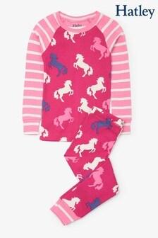 Hatley Pink Playful Horses Organic Cotton Raglan Pyjama Set