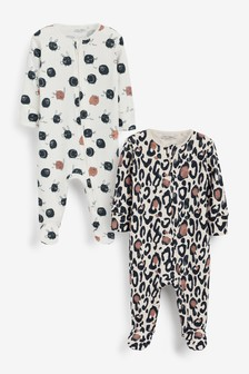 2 Pack Organic Cotton Zip Sleepsuits (0-3yrs)