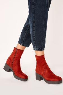Forever Comfort Block Heel Sock Boots