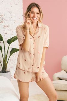 Embroidered Floral Button Short Pyjamas