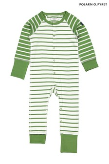 Polarn O. Pyret Green Organic Cotton Striped Pyjamas