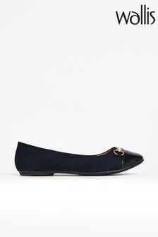 Wallis Belle Navy Bar Trim Ballerina Shoes