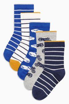 Набор из пяти пар носков с машинками (Подростки)