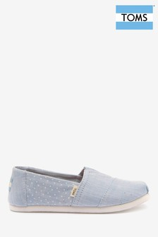 TOMS Youth Chambray Blue Spot Espadrilles