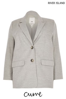 River Island Plus Grey Dad Oversize Blazer