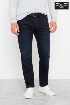 F&F Dark Wash Otis Overdyed Slim Belted Trousers