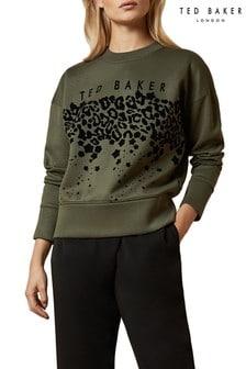Zielony sweter w prążki i zdobienie Ted Baker