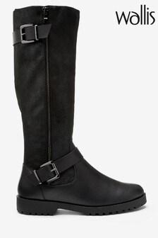 Wallis Black Faux Fur High Leg Biker Boots