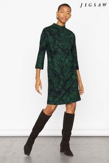 Jigsaw Green Layered Leaf Jersey Dress