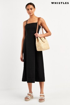 Whistles Black Linen Tie Front Strappy Dress