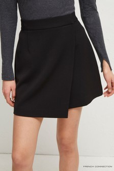 French Connection Black Alido Sundae Suiting Wrap Skirt