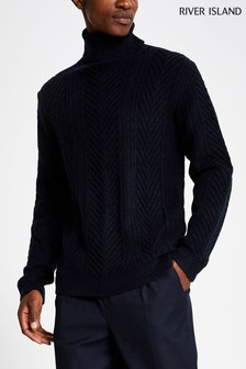 River Island Navy Midweight Roll Neck Jumper