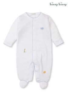 Kissy Kissy White Hand Embroidered Animals Babygrow