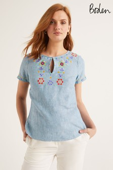 Boden Blue Laura Linen Embroidered Top