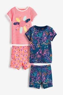 Набор из 2 пижам с шортами (флуоресцентный в полоску/с цветочным принтом) (9 мес. - 8 лет)