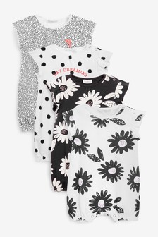 4 Pack Bubble Hem Rompers (0mths-3yrs)