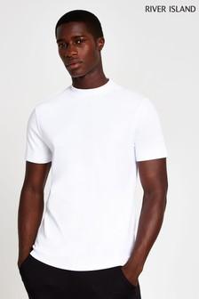River Island White Slim Hi Neck T-Shirt