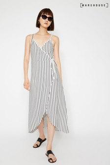 Warehouse Blue Stripe Cami Wrap Maxi Dress