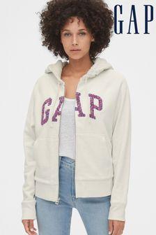 Gap Grey Bold Logo Zip Through Hoody