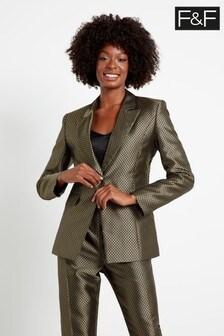 F&F Gold Geo Jacquard Jacket
