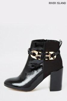 River Island Black Squint Patent Boots