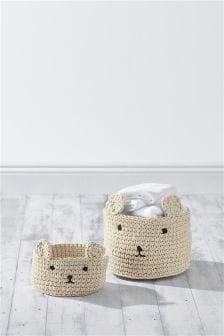 Komplet 2 pletenih škatel za shranjevanje z motivom medveda