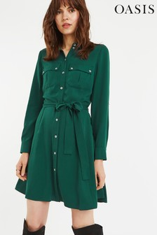 Oasis Green Utility Skater Shirt Dress