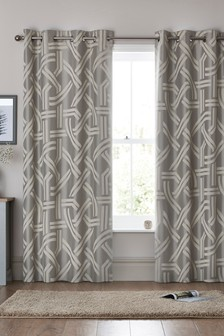 Graphic Jacquard Eyelet Curtains