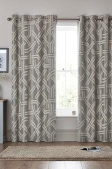 Graphic Jacquard Eyelet Curtains