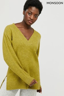 Monsoon Green V-Neck Step Hem Jumper