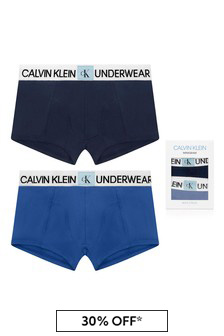 Boys Navy/Blue Cotton Boxer Shorts Two Pack