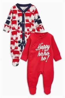 圣诞标语婴儿睡衣两件装 (0个月-2岁)