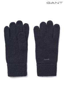 GANT Black Knitted Wool Gloves