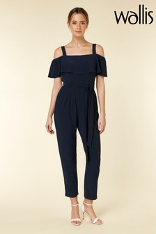 Wallis Petite Navy Cold Shoulder Jumpsuit